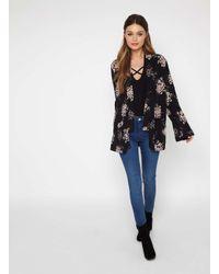 Miss Selfridge - Black Floral Print Short Kimono - Lyst