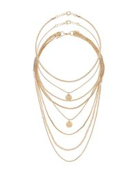 Miss Selfridge | Metallic Facet Bead Layered Multi Row Necklace | Lyst