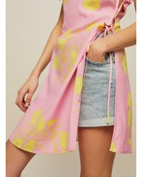 Miss Selfridge - Pink Floral Lattice Halter Neck Tunic Top - Lyst