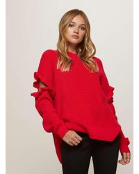 Miss Selfridge | Red Frill Elbow Knitted Jumper | Lyst