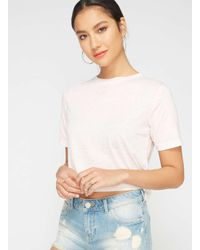 Miss Selfridge - Pink Burn Out Crop T-shirt - Lyst