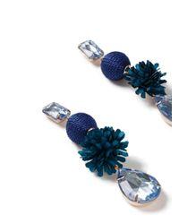 Miss Selfridge - Blue Flower Gem Drop Earring - Lyst