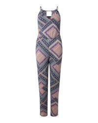 Miss Selfridge - Blue 90's Neck Printed Jumpsuit - Lyst