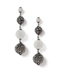 Miss Selfridge - Gray Graduated Bead Drop Earrings - Lyst