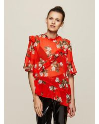 3118b6568d60c0 Miss Selfridge Red Print Asymmetric Ruffle Blouse in Red - Lyst