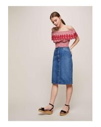 e4ab2f4c46d Lyst - Miss Selfridge Red Embroidered Shirred Gingham Check Bardot ...