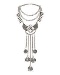 Miss Selfridge - Metallic Coin Drop Collar - Lyst