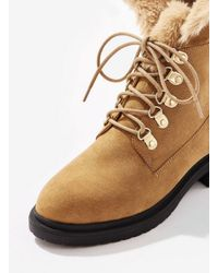 Miss Selfridge - Brown Lace Up Ankle Boots With Faux Fur Lining In Tan - Lyst