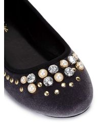 Miss Selfridge - Gray Eskimo Pearl Jewel Ballet Pump - Lyst