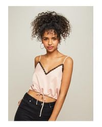 Miss Selfridge - Pink Lace Drawstring Camisole Top - Lyst