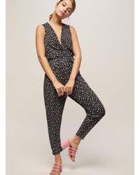 040b1ffb31f8 Miss Selfridge Petite Black Ditsy Twist Jumpsuit in Black - Lyst