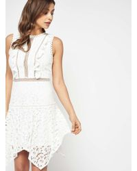 Miss Selfridge | White Floral Lace Hanky Hem Dress | Lyst