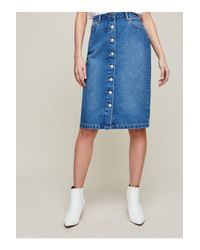 Miss Selfridge - Blue Buttoned Midi Denim Skirt - Lyst