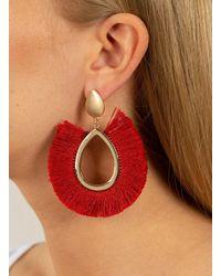 Miss Selfridge - Red Fringe Tassel Earrings - Lyst