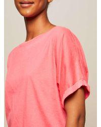 Miss Selfridge - Pink Burn Out Grown On Sleeve T-shirt - Lyst