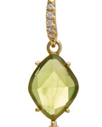 Lauren K | Green 18k Yellow Gold Peridot And Aquamarine Earrings | Lyst