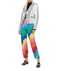 MIRA MIKATI - Metallic Rainbow Wave Sequin Jogger - Lyst
