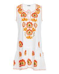 Juliet Dunn - White Embroidered Cotton Mini Dress - Lyst