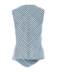Carven - Blue Striped Twill Sleeveless Blouse - Lyst