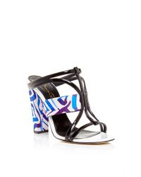 Oscar de la Renta - Blue Silk And Patent Leather Lonni Sandals - Lyst