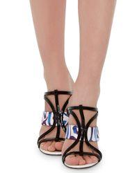 Oscar de la Renta - Blue Silk And Patent Leather Lonni Sandals - Lyst