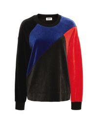 Sonia by Sonia Rykiel - Black Velvet Patchwork Sweatshirt - Lyst