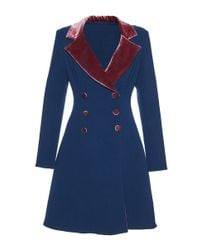 Luisa Beccaria - Blue Crepe Stretch Double Faced Coat With Velvet Details - Lyst