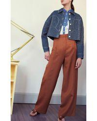 Rosetta Getty - Brown Cognac Calf Leather Flat Tassel Sandal - Lyst