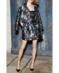 Paule Ka - Blue Jacquard Satin Jacket - Size 10 - Lyst