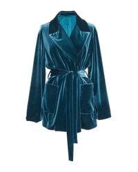 Luisa Beccaria - Blue Stretch Velvet Blazer - Lyst