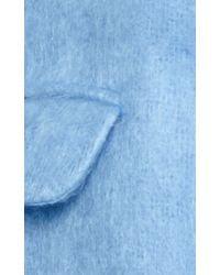 Luisa Beccaria - Blue Oversized Lapel Mohair Coat - Lyst