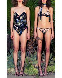 Fleur du Mal - Black Kylie Floral Bikini Top - Lyst