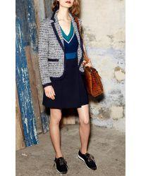 Paule Ka - Blue Long Sleeve V Neck Sweater - Lyst