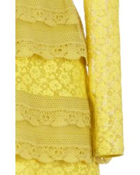 Burberry - Yellow Pale Citrus Tiered Chantilly Lace Shift Dress - Lyst