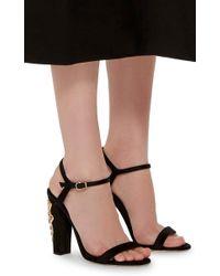 Oscar de la Renta - Natural Black Satin Crystal Heeled Lemmy Sandals - Lyst