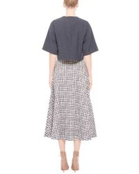 Saloni - Black Cotton Printed Button Front Leah Skirt - Lyst