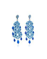 Anna E Alex - Blue Woven, Stone Silver-plated Earrings - Lyst