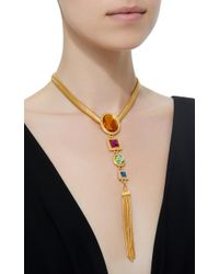Ben-Amun - Metallic Tasseled Gold-plated Crystal Necklace - Lyst