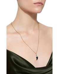 Dezso by Sara Beltran | Black Classic Shark Fin Charm With Blue Tiger Eye And Gemfields Emerald | Lyst