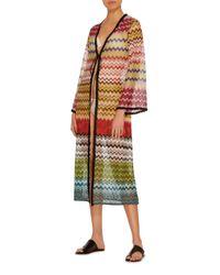Missoni - Multicolor Tie Front Crochet Cardigan - Lyst