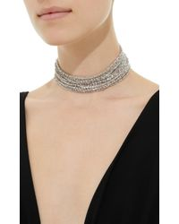 Fallon - White Marquis Stacked Rhodium-plated Cubic Zirconia Choker - Lyst