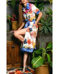 CELIA B Blue Carnation Shirt Midi Dress