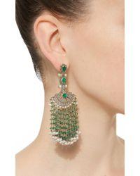 Sanjay Kasliwal - Green Long Emerald Fan Earrings - Lyst