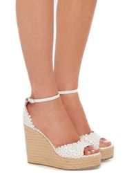 Tabitha Simmons - White Perforated Leather Harp Wedges - Lyst