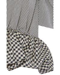 Isa Arfen - Gray Cotton Silk Micro Check Top With Peplum - Lyst