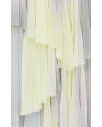 J. Mendel Gray Brushstroke Ombre Printed Chiffon Off The Shoulder Dress