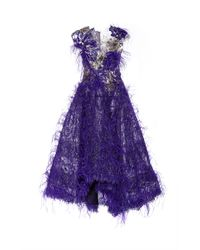 Marchesa | Multicolor High Low Feather Gown | Lyst