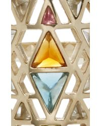 Noor Fares - Metallic Nila Ring In Grey Gold With Various Coloured Stones & Diamonds - Lyst