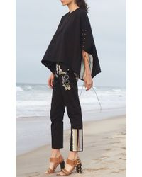 Cynthia Rowley - Black Embroidered Poplin Twill Lace Up Pant - Lyst