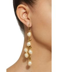 Marni - White Pearl Gold-tone Drop Earrings - Lyst